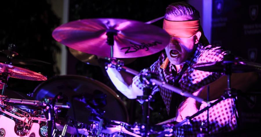 clint pulver blind folded drumming on zildjan set